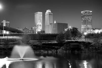 Tulsa Oklahoma Skyline Black And White Poster by Gregory Ballos