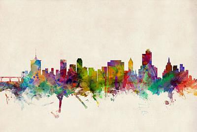 Tulsa Oklahoma Skyline Poster by Michael Tompsett