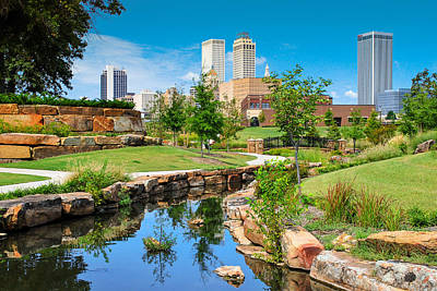 Tulsa Oklahoma Skyline View From Central Centennial Park Poster by Gregory Ballos