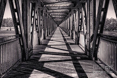 Tulsa Pedestrian Bridge In Black And White Poster