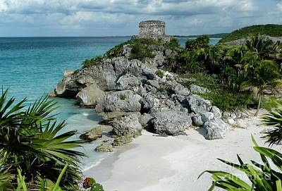 Poster featuring the photograph Tulum Ruins In Mexico by Polly Peacock