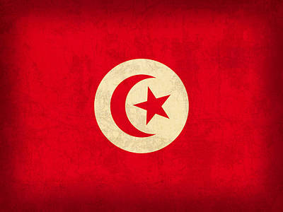 Tunisia Flag Vintage Distressed Finish Poster by Design Turnpike