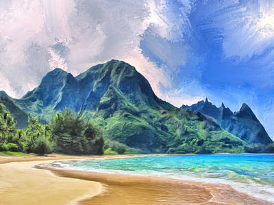 Tunnels Beach Kauai Poster by Dominic Piperata