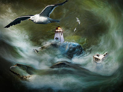 Turbulence At Irving Lighthouse Poster