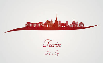 Turin Skyline In Red Poster by Pablo Romero
