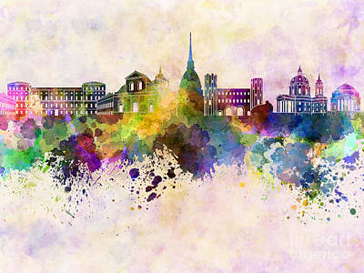 Turin Skyline In Watercolor Background Poster by Pablo Romero