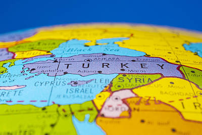 Turkey - Antique  Globe Map Travel Background Poster