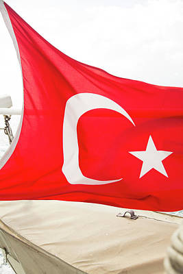 Turkey The Flag Of Turkey Is A Red Flag Poster by Emily Wilson