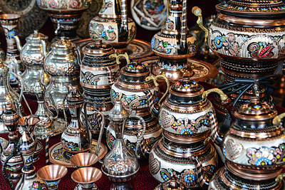 Turkish Teapots For Sale In Istanbul Turkey Poster