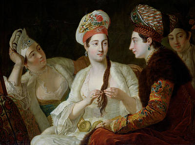 Turkish Women Oil On Canvas Poster by Antoine de Favray