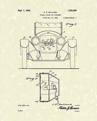 Turn Signals 1925 Patent Art Poster