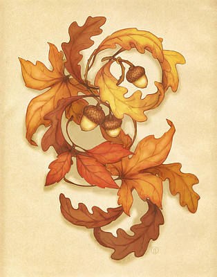 Turning Leaves Poster by Catherine Noel