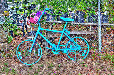 Turquoise Bicycle Poster by Lorri Crossno