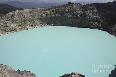 Turquoise Crater Lake Of Kelimutu Poster by Richard Roscoe