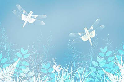 Turquoise Dragonfly Art Poster by Christina Rollo