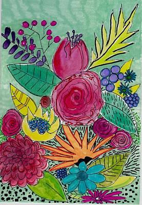 Turquoise Flower Garden Poster