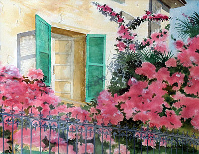 Poster featuring the painting Turquoise Shutters by Susan Crossman Buscho