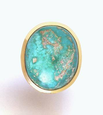 Turquoise Stone Set In Gold Ring Poster by Dorling Kindersley/uig