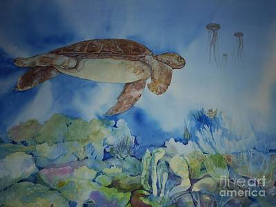 Turtle And Jelly Fish Poster by Donna Acheson-Juillet