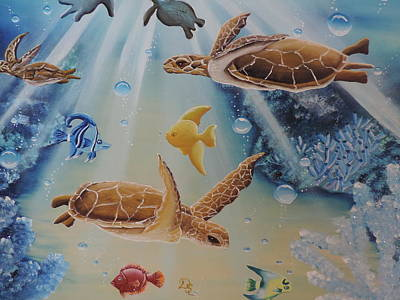 Poster featuring the painting Turtles At Sea #2 by Dianna Lewis