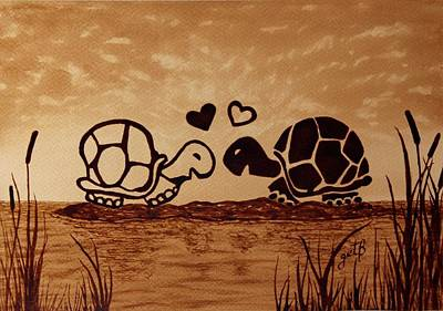 Turtles Love Coffee Painting Poster