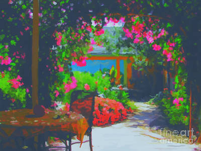 Poster featuring the painting Tuscan Courtyard by Tim Gilliland