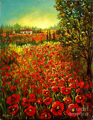 Poster featuring the painting Tuscan Poppies by Lou Ann Bagnall