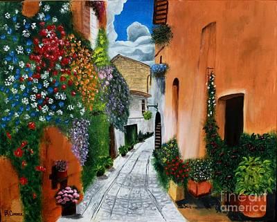 Tuscan Street Scene Poster by Bev Conover