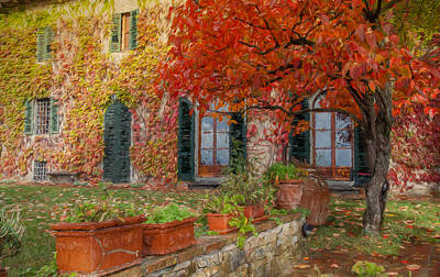 Tuscan Villa In Autumn Poster