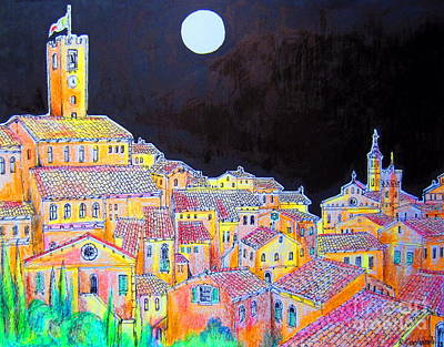Tuscan Village By The Moonlight Poster by Roberto Gagliardi