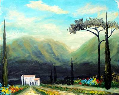 Poster featuring the painting Tuscany Colors by Larry Cirigliano