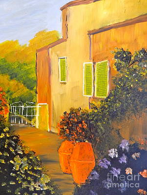 Poster featuring the painting Tuscany Courtyard by Pamela  Meredith
