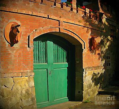 Tuscany Door With Horse Head Carvings Poster