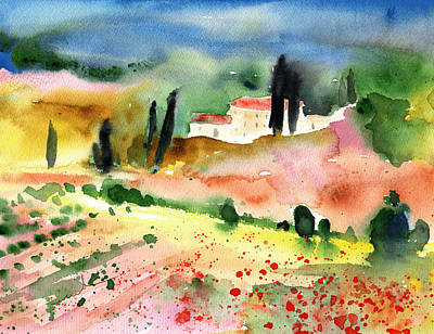 Tuscany Landscape 02 Poster by Miki De Goodaboom