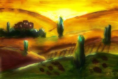 Tuscany Sunrise Poster by Peg Holmes