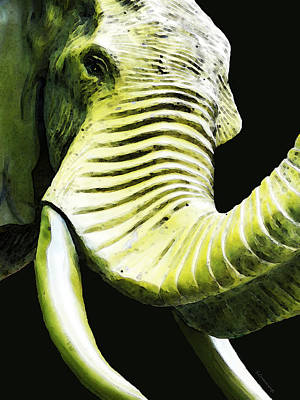 Tusk 1 - Dramatic Elephant Head Shot Art Poster