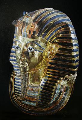 Poster featuring the painting Tutankamon's Golden Mask by Leena Pekkalainen