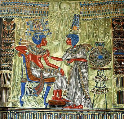 Poster featuring the painting Tutankhamon's Throne by Leena Pekkalainen