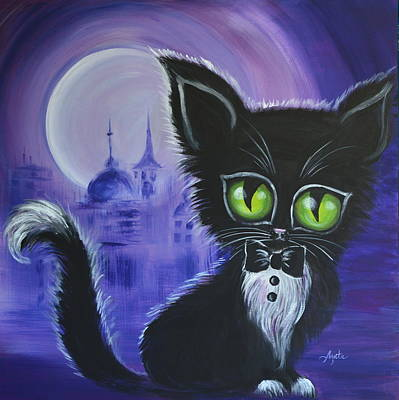 Poster featuring the painting Tuxedo Cat by Agata Lindquist