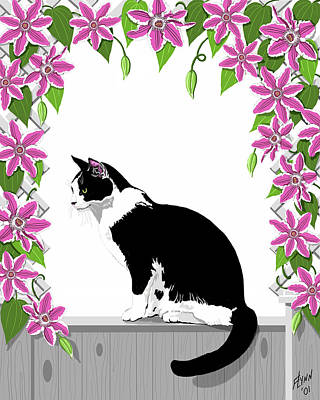 Tuxedo Cat And Clematis Poster by Artellus Artworks