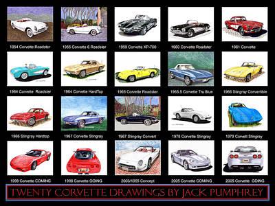 Twenty Corvettes Poster by Jack Pumphrey