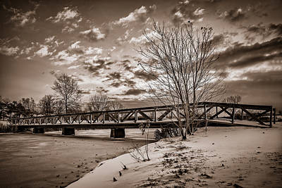 Twilight Bridge Over An Icy Pond - Bw Poster
