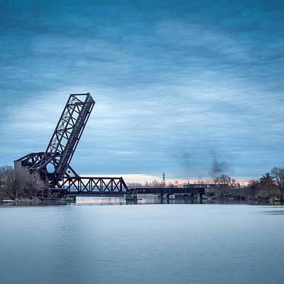 Twilight Locomotive Crossing Buffalo River Poster