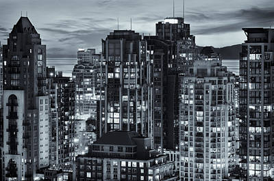 Poster featuring the photograph Twilight On Cityscape Of Vancouver Overlooking English Bay - Greeting Card by Amyn Nasser