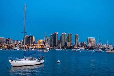 Twilight Sailboat San Diego Harbor Poster by Peter Tellone