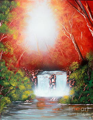 Poster featuring the painting Twin Falls  by Greg Moores
