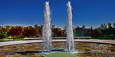 Twin Fountains Poster by Tom Gari Gallery-Three-Photography