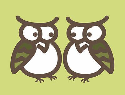 Twin Owl Babies- Nursery Wall Art Poster by Nursery Art
