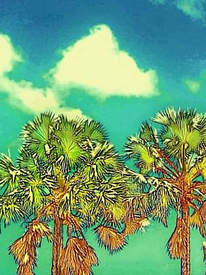 Twin Palms With Aqua Sky - Vertical Poster