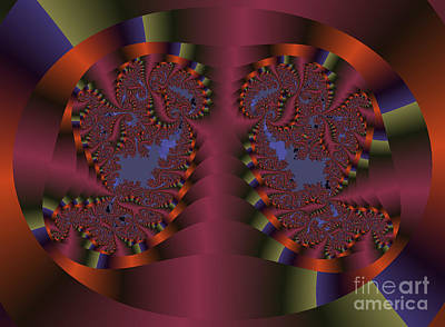 Twin Swans Fractal Abstract Poster by Darleen Stry